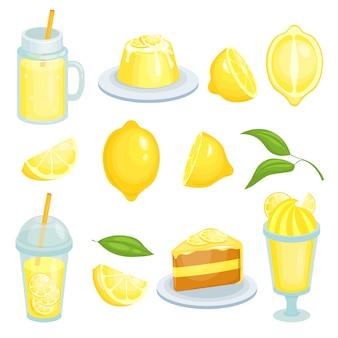 Jedzenie cytrynowe. ciasta, lemoniada i inne żółte potrawy z dodatkiem cytryn. ilustracje w stylu kreskówki