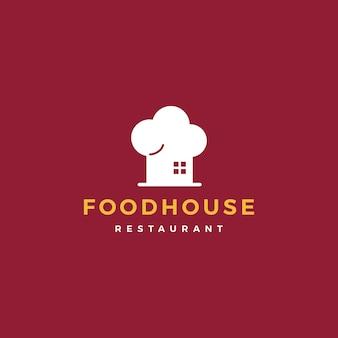 Jedzenie dom kucharz kapelusz kuchnia kuchnia kawiarnia wektor ikona logo