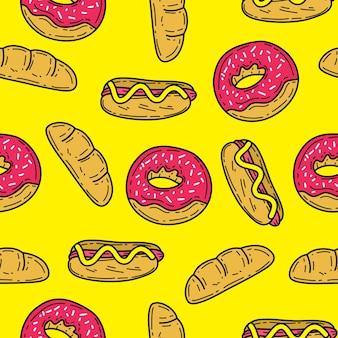 Jedzenie doodle bezszwowe tło wektor wzór