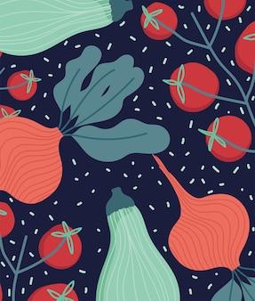 Jedzenie dynia zielone pomidory rzodkiewka organiczna przerywana ilustracja