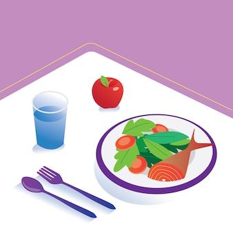 Jedzenie i dieta posiłek izometryczny odżywianie zdrowe jedzenie i koncepcja technologii