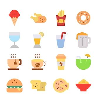 Jedzenie i napój ikony ustawiają znaki projekta loga prostą ilustrację