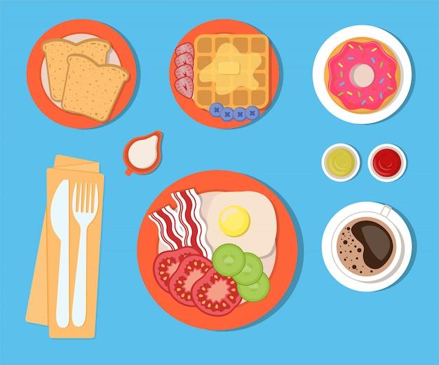 Jedzenie i napoje na śniadanie, zestaw elementów na białym tle. ilustracja wektorowa w stylu płaski.