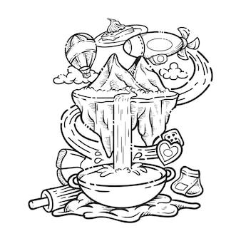 Jedzenie i picie doodle sztuka wektor