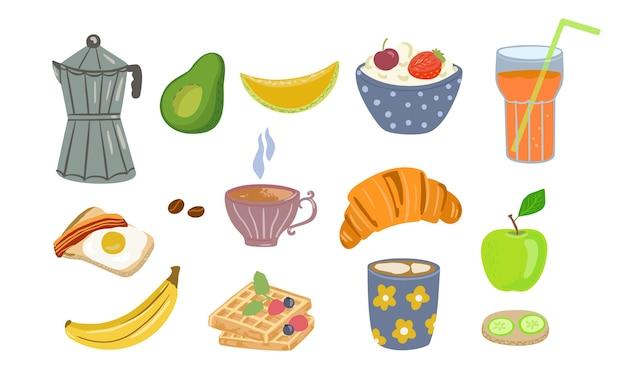 Jedzenie i picie ikony zdrowego śniadania w stylu kreskówka na białym tle