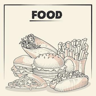 Jedzenie i pyszne przekąski burger frytki pizza taco ręcznie rysowane ilustracja plakat