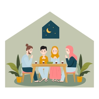 Jedzenie iftar po poście z rodziną. koncepcja iftar