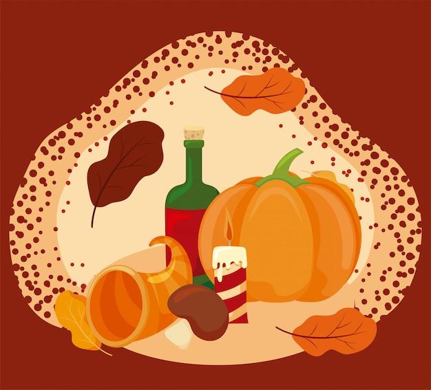 Jedzenie jesieni sezonu wektorowy projekt