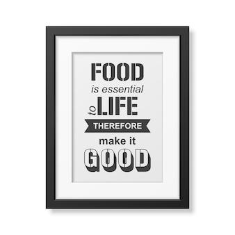Jedzenie jest niezbędne do życia, dlatego spraw, by było dobre - typograficzny cytat w realistycznej kwadratowej czarnej ramce