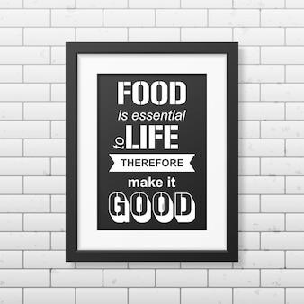 Jedzenie jest niezbędne do życia, więc czyń je dobrym - cytuj typograficznie