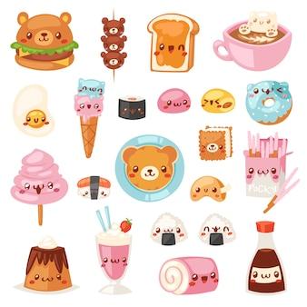 Jedzenie kawaii kreskówka niedźwiedź wyrażenie znaków hamburgera fastfood z lodów lub pączka emotikon ilustracja zestaw emocji burger i emoji kawy na białym tle