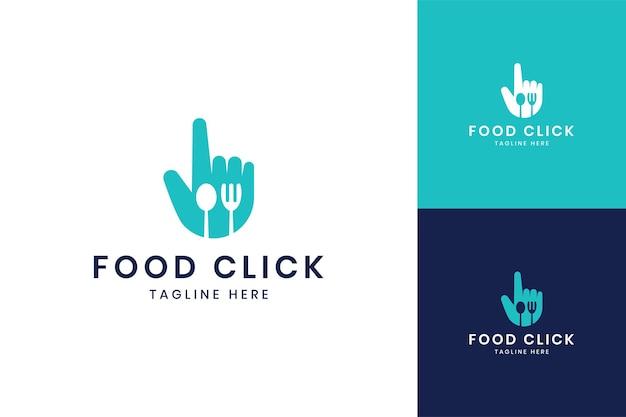 Jedzenie kliknij projekt logo negatywnej przestrzeni