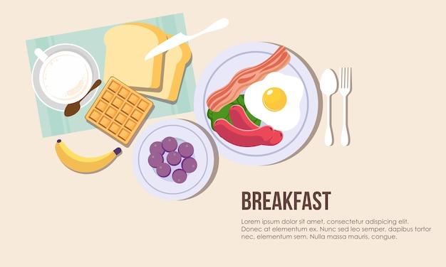 Jedzenie na śniadanie pyszne naleśniki w tle