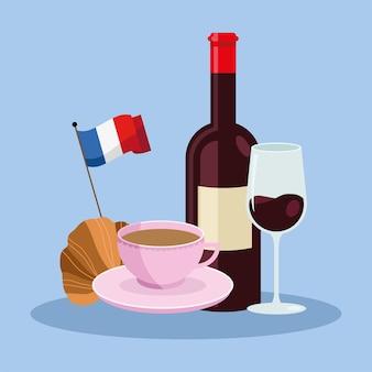 Jedzenie Na Uroczystość We Francji Premium Wektorów