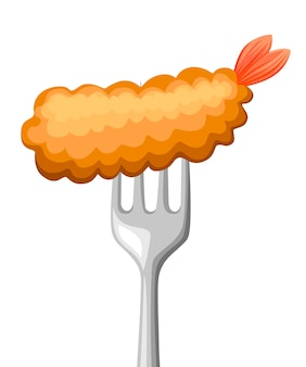 Jedzenie na widelcu. krewetki smażone na widelcu ze stali nierdzewnej. tempura, masło, japońskie jedzenie. ilustracja na białym tle.