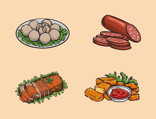 Jedzenie obejmuje klopsiki, salami, pieczeń i bryłki kurczaka.