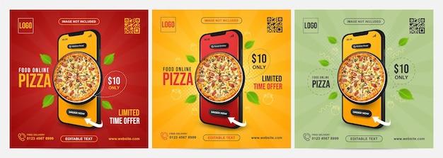 Jedzenie online na banerze koncepcji aplikacji mobilnej