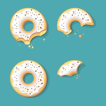 Jedzenie pączków. szkliwione słodkie fast foody pierścień ciasto wektor kreskówka klatki kluczowe