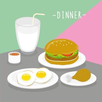 Jedzenie posiłek kolacji mleczarnia jeść menu restauracja wektor