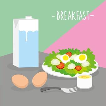 Jedzenie posiłek śniadanie nabiał jeść pić menu restauracja wektor
