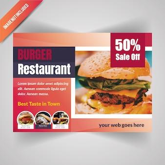 Jedzenie poziome ulotki dla restauracji
