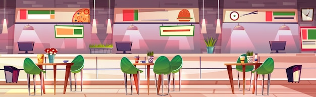 Jedzenie sąd w centrum handlowe robią zakupy ilustrację cukierniany wnętrze. burgery sushi, pizza i fast food