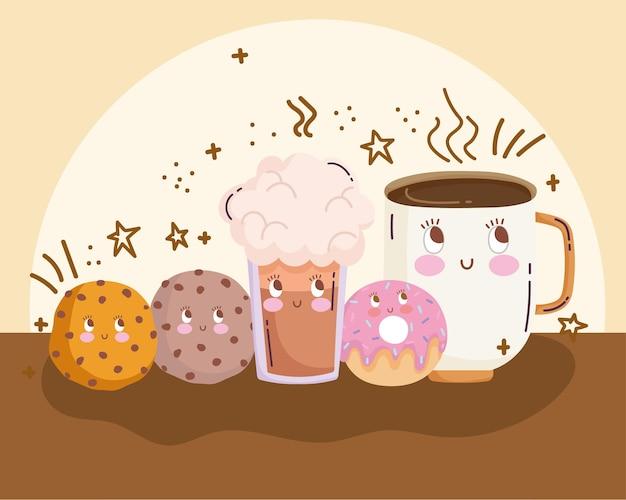 Jedzenie słodkie ciasteczka pączek filiżanka kawy i smoothie kreskówka wektor ilustracja
