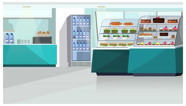 Jedzenie sprzeciwia się w ciasteczko sklepu ilustraci