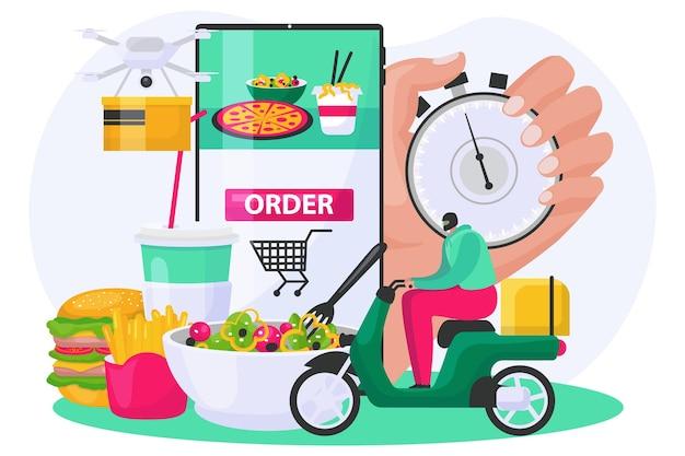 Jedzenie zamówienie usługi dostawy ilustracji wektorowych płaskie malutkich ludzi człowiek kurier jeździć skuterem w pobliżu...
