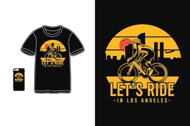 Jedźmy w los angeles typografii na t-shirtach i urządzeniach mobilnych