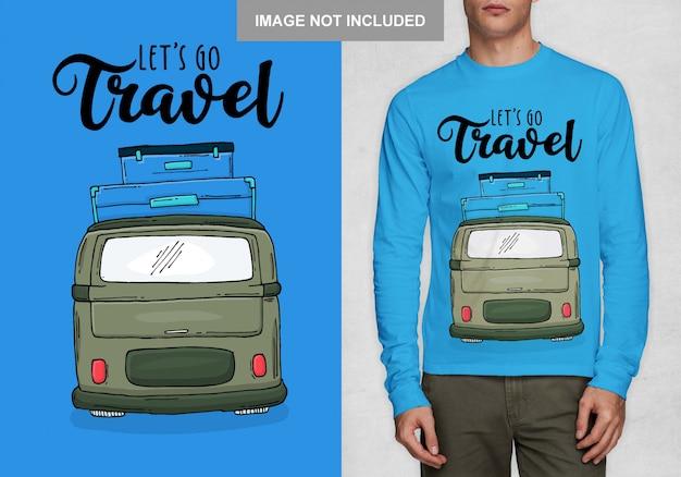 Jedźmy w podróż. projekt typografii na koszulkę