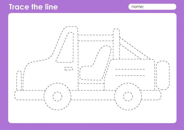 Jeep - arkusz dla dzieci w wieku przedszkolnym do śledzenia linii transportowych