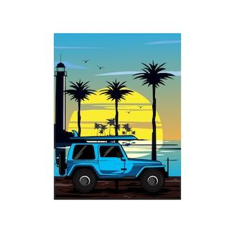 Jeep i latarnia morska