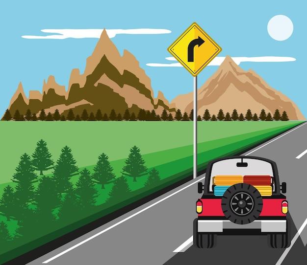 Jeep z walizkami krajobraz wycieczkowy