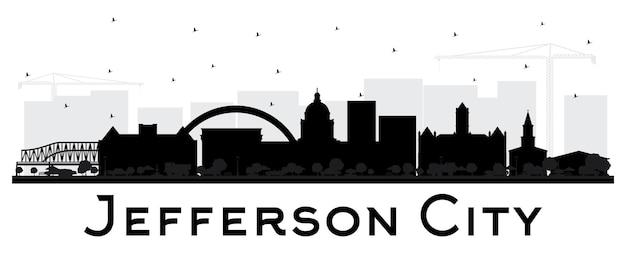 Jefferson city missouri skyline sylwetka z czarnymi budynkami na białym tle. ilustracja wektorowa. koncepcja turystyki z zabytkową architekturą. gród jefferson z zabytkami.