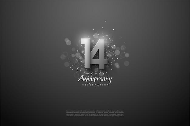 Jego 14 rocznica z nakładającymi się srebrnymi cyframi 3d.