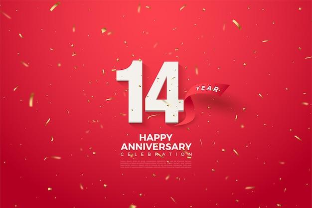 Jego 14 rocznica z numerem i zakrzywioną czerwoną wstążką za nim.