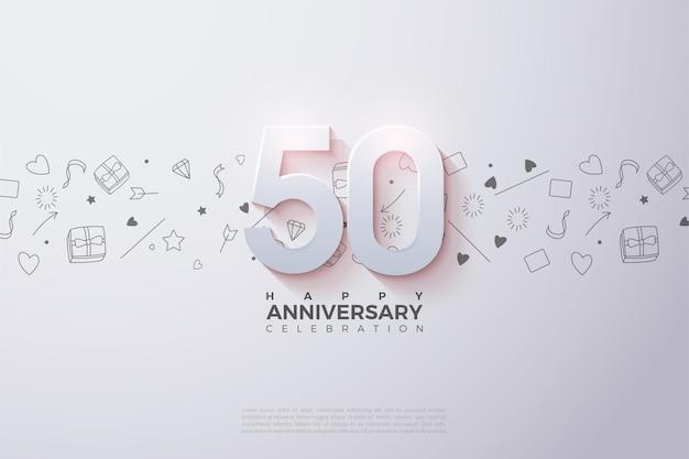 Jego 50. Rocznica Z Lekko Wyblakłą Trójwymiarową Figurą Premium Wektorów