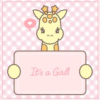 Jego karta baby żyrafa dziewczynka na baby shower