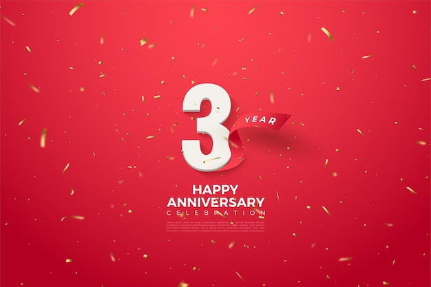 Jego rocznica z numerami i czerwoną wstążką zakrzywioną za nim.