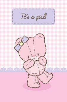 Jego szablon karty baby pink bear girl