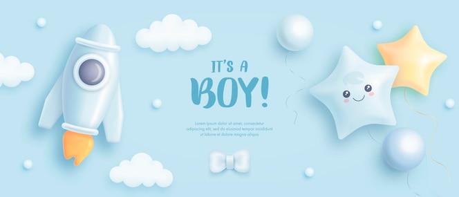 Jego tło baby shower chłopca