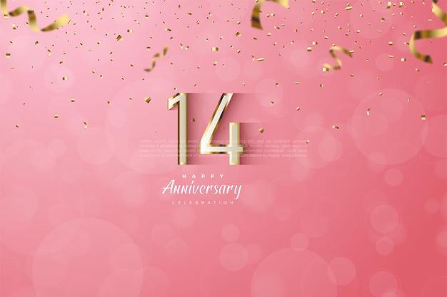 Jej 14 rocznica z luksusowymi cyframi ze złotymi krawędziami.