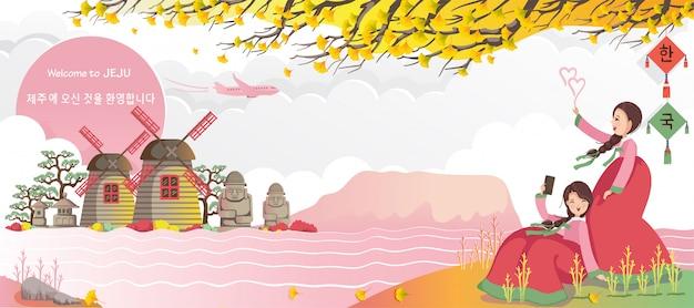 Jeju to charakterystyczne obiekty turystyczne korei. koreański plakat podróżny i pocztówka. witamy w jeju.