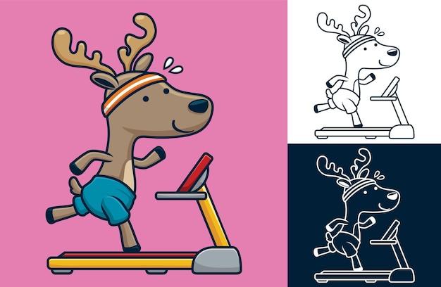 Jeleń biegający na bieżni. ilustracja kreskówka w stylu mieszkania