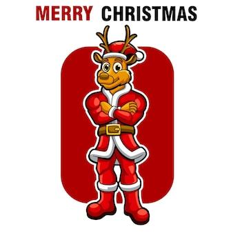 Jeleń christmast, zabawna ilustracja wektorowa maskotka