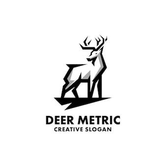 Jeleń geometryczny zarys charakter na białym tle logo