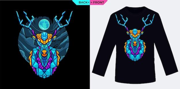 Jeleń i niebieski księżyc geometryczny wzór idealny na towary i ubrania z motywem zimowym