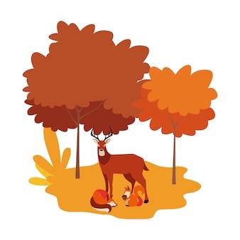 Jeleń i wiewiórka w naturalnym krajobrazie