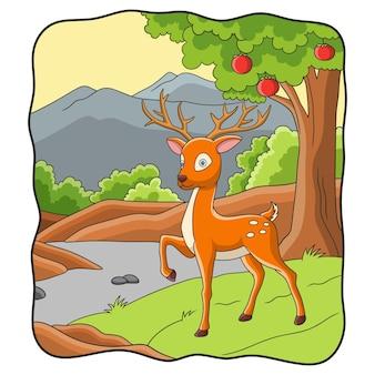 Jeleń ilustracja kreskówka spaceru w lesie